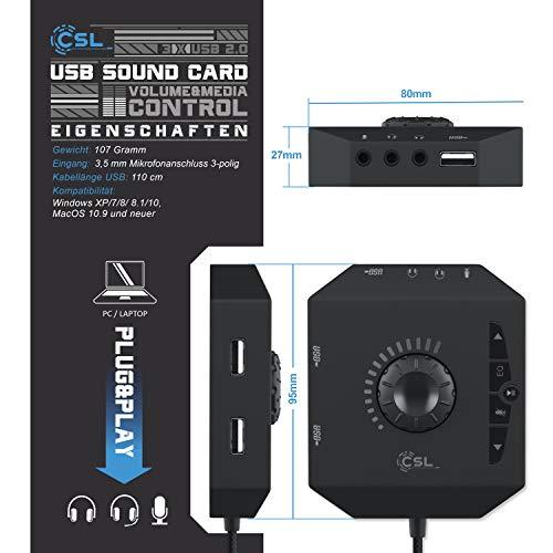 CSL - USB Soundkarte extern - Soundkarte mit Lautstärkeregelung USB Hub - Anschluss für Headset Kopfhörer Mikrofon - Equalizer - Steuerung eines Audioplayers - schwarz