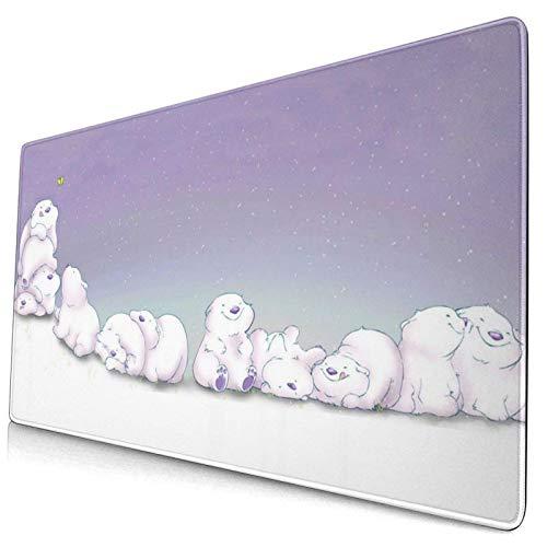 Lindo diseño de Osos Polares Patrón XXL XL Alfombrilla de ratón Grande para Juegos Alfombrilla de ratón Larga y extendida Alfombrilla de Escritorio Alfombrillas de Goma Antideslizantes Bordes cosidos