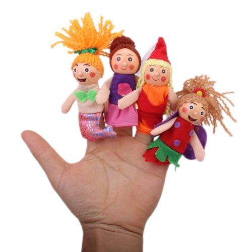 Mini Fingerpuppen Handpuppen Kasperlepuppen Kasperlefiguren für Kinder Rotkäppchen Geschichte Cosplay - 4pcs Puppen