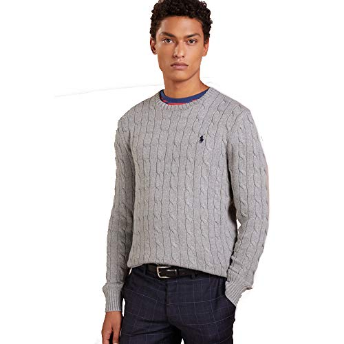 Ralph Lauren Maglioni Cable-Knit in Cotone (XXL, Grey Heather)