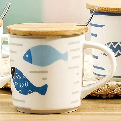 DYTJ-Mugs Taza De Agua De Cerámica De Peces Bajo El Agua Con Tapa Cuc