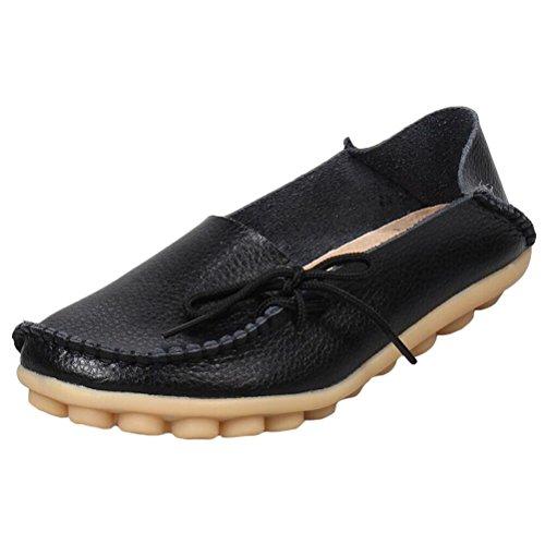 Vogstyle Damen Casual Slipper Flatschuhe Low-top Schuhe Erbsenschuhe Art 1 Schwarz 41