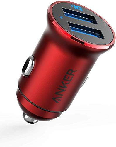 Anker PowerDrive 2 Alloy(24W 2ポートカーチャージャー)【PowerIQ搭載 / コンパクトサイズ】iPhone、Android、IQOS対応(レッド)