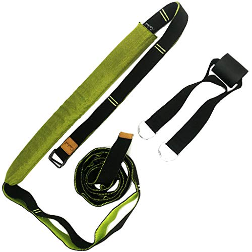 Fine Stretch Strap,Flexibility Yoga Stretch Belt Elastic Stretching Strap Exercise Fitness Bands, Assist One Word Horse Practice (Green)