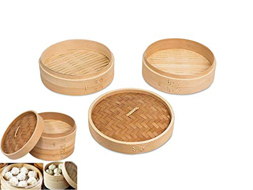 All Natural 9 Inch Asian Kitchen Bamboo Steamer Basket Reusable With Lid 2 Layer Double Compartment Dumpling Vegetables Dim Sum
