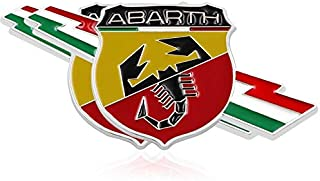 2pcs B023 Car Chromed Emblem Badge Decal Fender Sticker ABARTH Italy For FIAT 124 125 125 500 695 OT2000 Coupe
