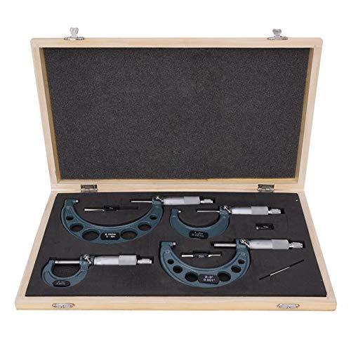 CLJ-LJ 4pcs 0-1in / 1-2in / 2-3in / 3 pulgadas 4in-Herramienta de medición Imperial micrómetro de diámetro exterior de alta precisión con la llave