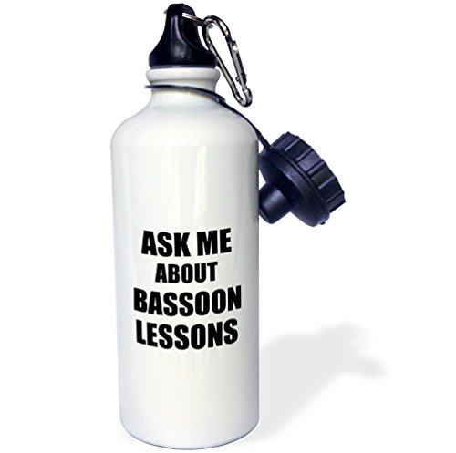 "3dRose ""Ask me about Bassoon lessons self-promotion promotional advert advertising music teacher marketing"" Sports Water Bottle, 21 oz, White -  wb_161885_1"