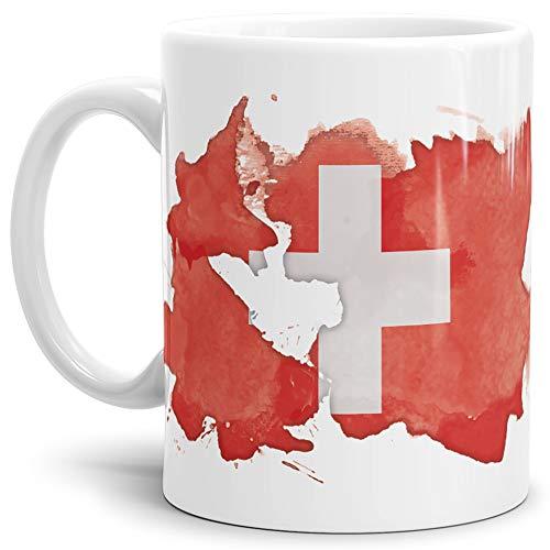 Tassendruck Flaggen-Tasse Schweiz Weiss - Fahne/Länderfarbe/Wasserfarbe/Aquarell/Cup/Tor/Qualität Made in Germany