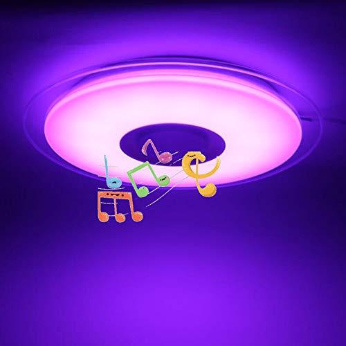 45Cm Baño Música Lámpara De Techo Con Altavoz Bluetooth, IP65 A Prueba De Agua Lámpara De Techo RGB, APP Y Control Remoto, Pantalla De Cielo Estrellado 3D Para Cocina, Dormitorio, Fiesta,45cm60w