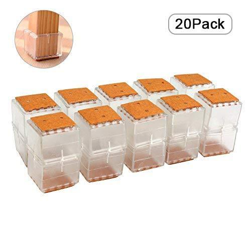 BELLESTYLE Stuhl Leg Caps, 20Pcs Platz Silikon Möbelfüße Pads Tischdecke Boden Kratzer Protektoren für 30-35MM Stuhl Cap - Transparent (Square/3-3.5cm)