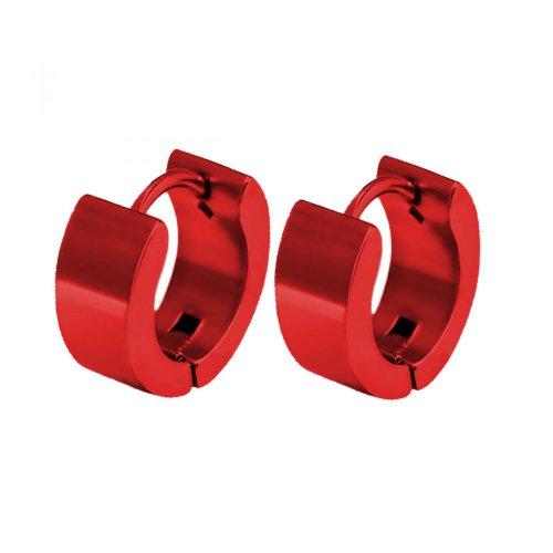 Creolen Edelstahl Creole Ohrringe Klappcreolen Herren Kinder rosa pink lila rot, Größe:10 mm;Farbe:rot