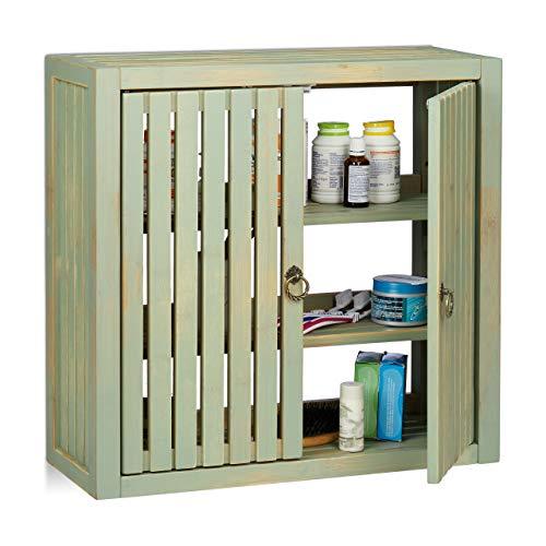 Relaxdays Hängeschrank Vintage, Bambus, 2 Türen, Magnetverschluss, 2 Einlegeböden, Bad & Küche, HBT 50 x 52 x 20cm, grün