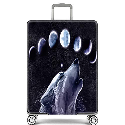 Cubierta de Equipaje Estampado Animal OcéanoTiburón Delfín Azul Viaje Equipaje Cubierta Carretilla Caso Protectora Cubierta Cabe 18-32 Pulgadas Equipaje (Lobo Lunar,S)