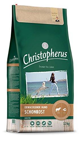 Christopherus Sensitive, Vollnahrung für den ausgewachsenen Hund mit normaler Aktivität, Trockenfutter, Lamm + Reis, Krokettengröße ca. 1 cm, Ausgewachsener Hund, 12 kg