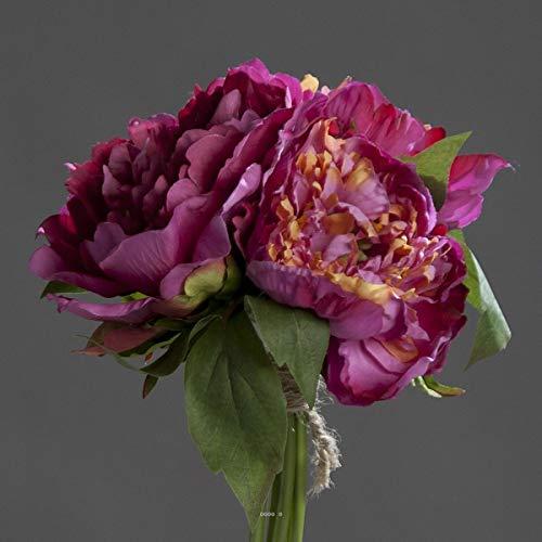 Artificielles.com - Bouquet de 3 Pivoines Fuchsia epanouies artificielles Corde et Feuillage H 26 cm - Couleur: Rose Fushia