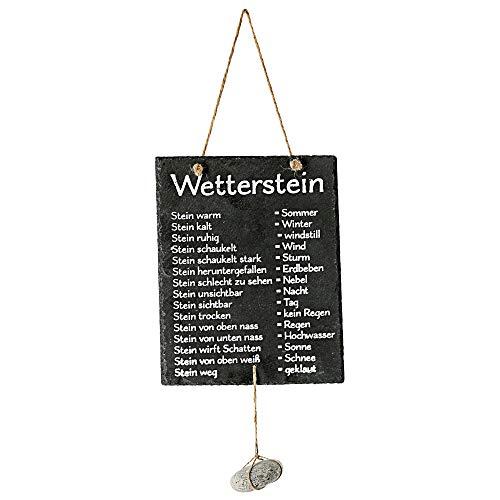 Cepewa Wetterstation Stein auf Schiefertafel Wettertafel Schild Tafel beschriftet 20 x 25 cm