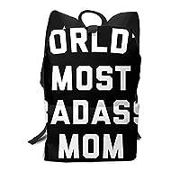 Badass Mom Funny Quote ベーシック リュック キャリーオントラベルバックパック カジュアル ラップトップバックパック スクールバックパック リュックサックバッグ 大容量 多機能 レディース メンズ ボーイズ ガールズ