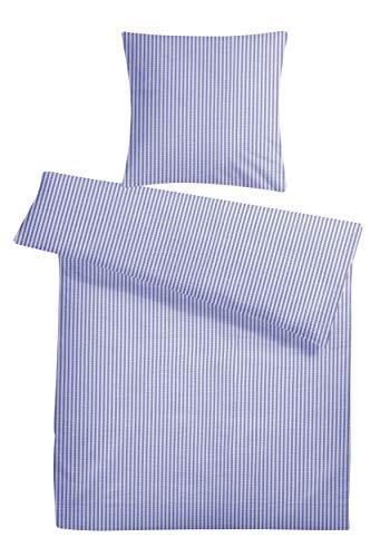 Carpe Sonno Kühle super weiche Seersucker Bettwäsche Blau Weiß gestreift 135 x 200 cm - Leichte Sommer Bett-Bezüge mit Streifen-Muster aus 100% gekämmter Baumwolle - Modernes Bettzeug-Set