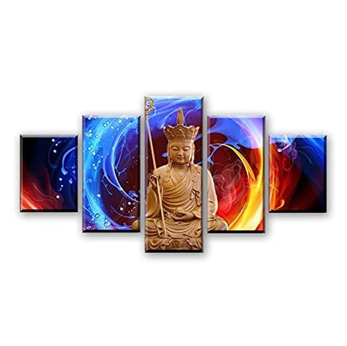 Decoración Arte de la pared Pinturas en lienzo Sala de estar 5 piezas Tipo de Ksitigarbha Bodhisattva Imágenes HD Impresiones Buda Posters-30x40 30x60 30x80 cm Sin marco