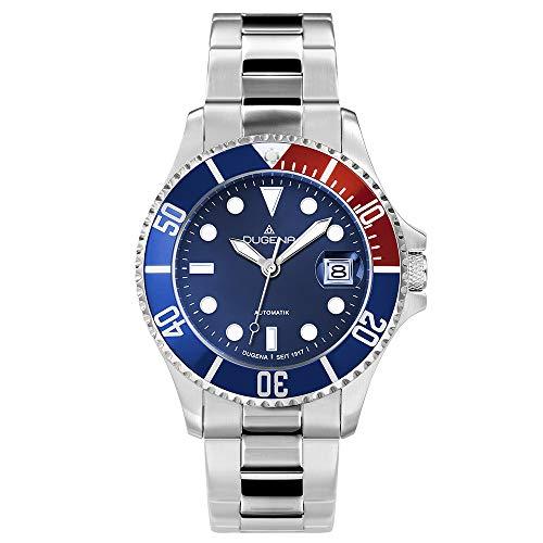Dugena Herren Automatik-Armbanduhr, Schraubkrone, Gehärtetes Mineralglas, Diver, Silber/Blau/Rot, 4460588