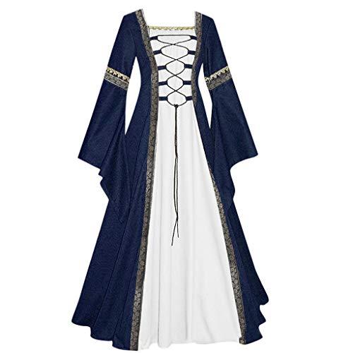 BIBOKAOKE Vestido medieval para mujer con mangas de trompeta, vestido maxi de manga larga, para Halloween, cosplay, fiesta, baile o noche