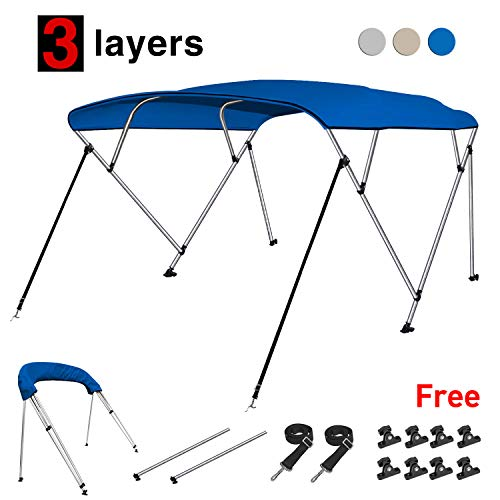 RVMasking 3 / 4Bow Bimini Top Boat Cover With 2 Rear Support Pole + 2 Straps + Storage Boot + 8 Deck Mounts, 800D Solution-dyed Fabric (3 bow: 6'L x 46' H x 79'-84' W, Blue)
