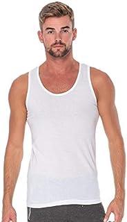 COTTONIL Men's Sleeveless Undershirt Combed Basic Vest, White