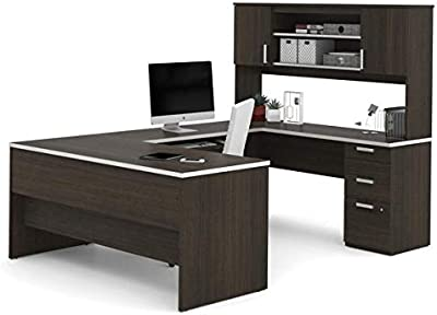 Premium Dark Chocolate U-Shaped Desk and Hutch with Nickel Accents