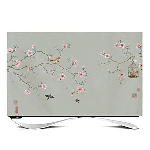 Funda Compatible con Monitor TV LCD TV Decoración De La Pantalla Tela de cubierta de polvo Adecuado para Televisores y Monitores de 24-65 Pulgadas -GAOGUIMEI Cub(Size:60inch,Color:Flowers and birds-2)