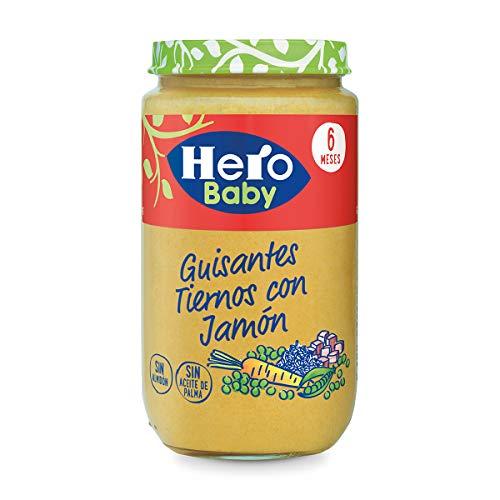 Hero Baby Guisantes con Jamón, Tarrito de Cristal 235 gr - Pack...