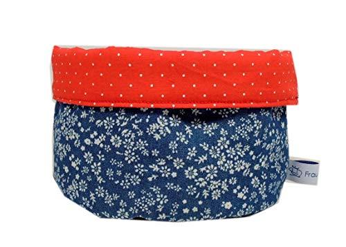 Stoffkörbchen Utensilo Blumen rot blau Jeans Blümchen gepunktet Punkte handmade