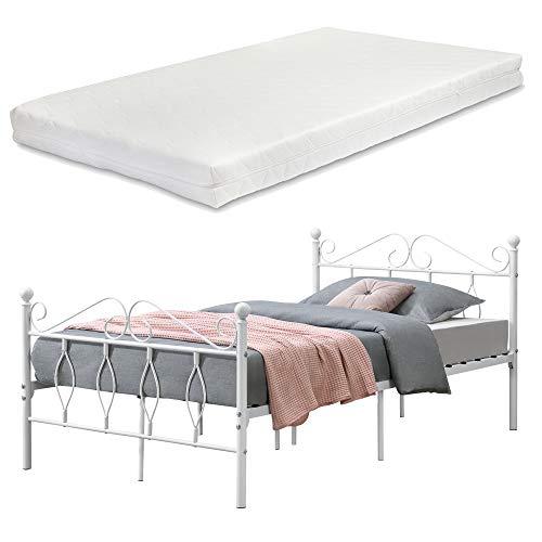 [en.casa] Metallbett Apolda 120x200 cm Jugendbett mit Matratze und Lattenrost Einzelbett mit Kaltschaummatratze bis 300kg Weiß