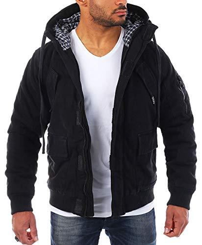 Young & Rich Veste Blouson Jacket capuce Slimfit Homme Les Hommes fourré 812-4003, grösse:s;Farbe:Noir