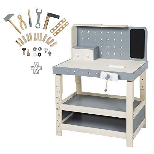 roba 97211 Werkbank, Spielwerkbank aus Holz, umfangreiches Werkzeug-Set, große Arbeitsplatte, Ablage, 3 Schubfächer, mitwachsend, höhenverstellbar, ab 3 Jahren