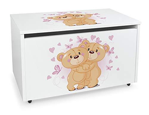 LEOMARK Blanco Caja de madera banco con almacenamiento para juguetes con Asiento, Baúl de juguetes sobre ruedas, Dim: 71 cm x 40.5 cm x 45 cm/WxDxH/ (Osos enamorados)