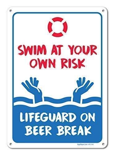228 MUXRM Pool Swim at Your Own Risk Pool Vintage 20,3 x 30,5 cm Placa de metal para colgar pintura de hierro, decoración de pared para cafetería, bar, casa, pub