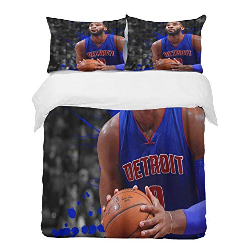 Fangguan Duvet Cover Set, Bed Sheets, Rugby Andre Basketball Players Detroit City Pistons Drummond Grunge Art,1 Duvet Cover Set 200 * 200 cm,+2 pillowcase 50x80cm