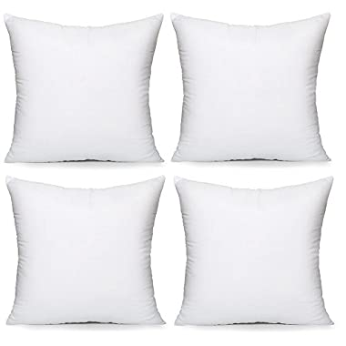 Acanva Hypoallergenic Pillow Insert Form Cushion, 18  L x 18  W, Pack of 4