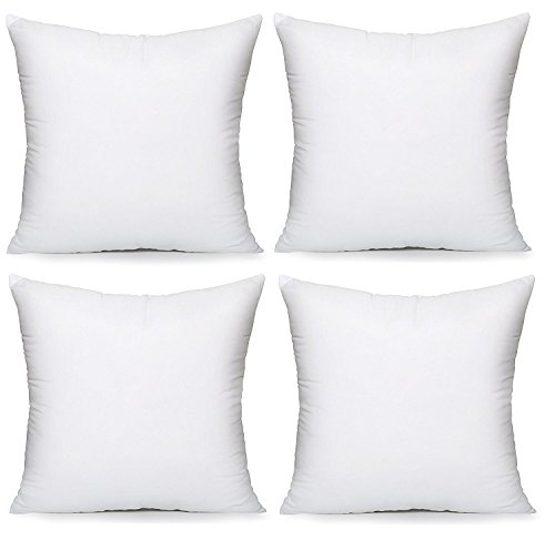 """Acanva Throw Pillow Inserts 16"""" x 16"""" Decorative Stuffer Soft Hypoallergenic Polyester Couch Square Form Euro Sham Cushion Filler, 16""""-4P, White 4 Pack"""