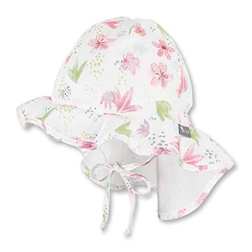 Sterntaler Flapper für Mädchen mit Bindebändern, Nackenschutz und Blumen-/Pflanzen-Motiven, Alter: 2-4 Jahre, Größe: 53, Beige