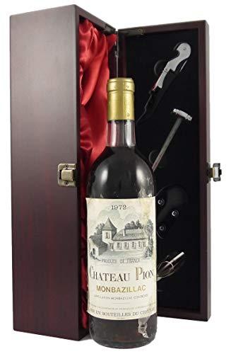 Chateau Pion 1972 Monbazillac en una caja de regalo forrada de seda con cuatro accesorios de vino, 1 x 750ml