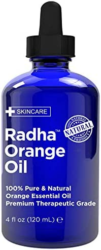 Radha Beauty 100 Pure Orange Essential Oil Huge 4oz Bottle Undiluted Therapeutic Grade Cleanse product image