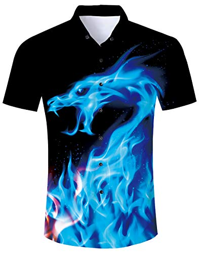 Herren Drachen Hemden Unisex 3D Blau Feuer Druckten Sommer-Beiläufige Kurze Hülsen-T-Shirts Für Teenager M