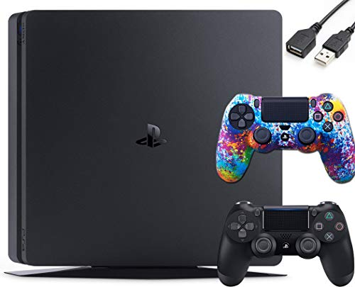 PlayStation 4 PS4 Slim 1TB Gaming Console : FHD High Dynamic Range (HDR) Parental Control Capability Blu-Ray Bluetooth Wi-Fi HDMI Black (One Controller Skin Included + USB Extension)