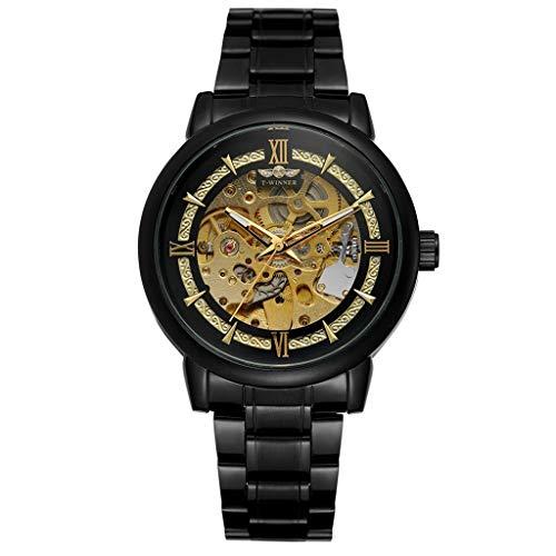 UINGKID Collection Unisex-Armbanduhr T-Winner Hollow Luxury Design Business Mode Herren Stahl Gürtel Mechanische Uhr
