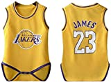 MCE Baby-Strampler Los Angeles Lakers # 23 Lebron James Fan Jersey Bodysuit (Color : Yellow, Size : 6~15 Months)