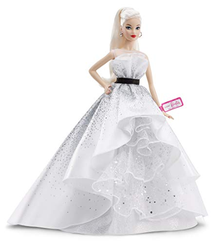 Barbie-60 Anniversario Vestito Bianco Bambola da Collezione per Bambini 6 + Anni, Multicolore, FXD88