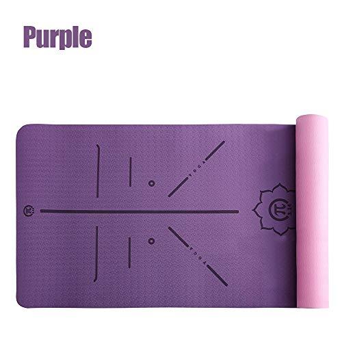 N / A Grueso Doble Color Antideslizante TPE Yoga Mat Fitness Sport Mat Gym Ejercicio Interior Pad sin Sabor con línea de posición 183cm * 61cm