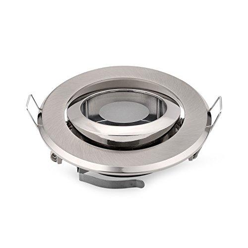 Juego de 6focos empotrables de luz led, de formato MR16, con casquillo GU10MR16, con anillo satinado de fijación de aleación de zinc
